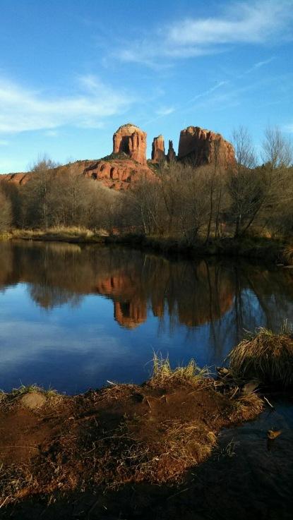 Cathedral Rocks reflected in oak creek